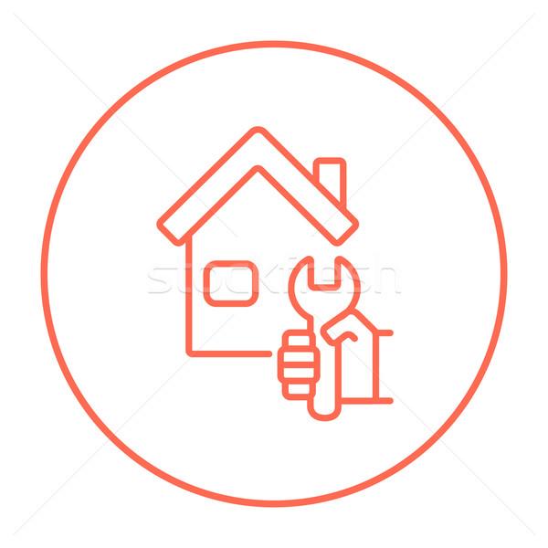 Stockfoto: Huis · reparatie · lijn · icon · sleutel · web
