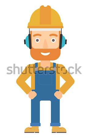 Man wearing hard hat and headphones  Stock photo © RAStudio