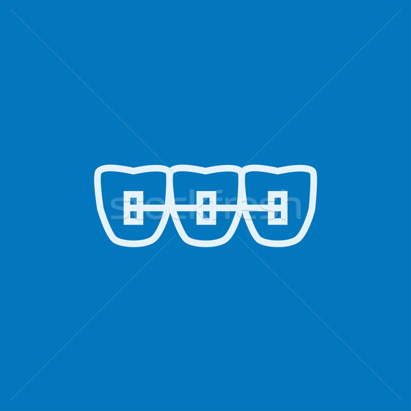 Orthodontique accolades ligne icône web Photo stock © RAStudio