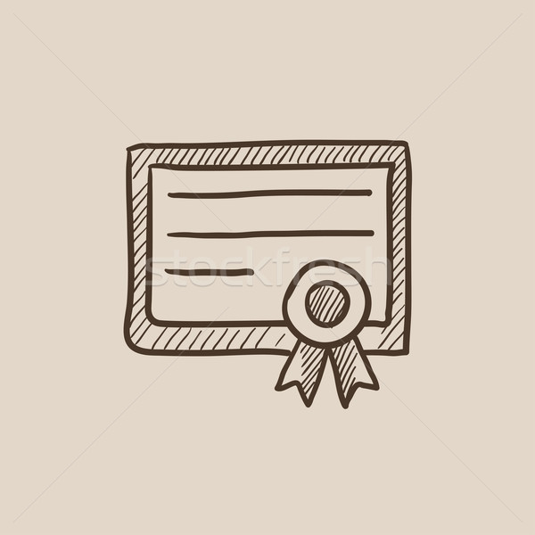 Stock photo: Certificate sketch icon.