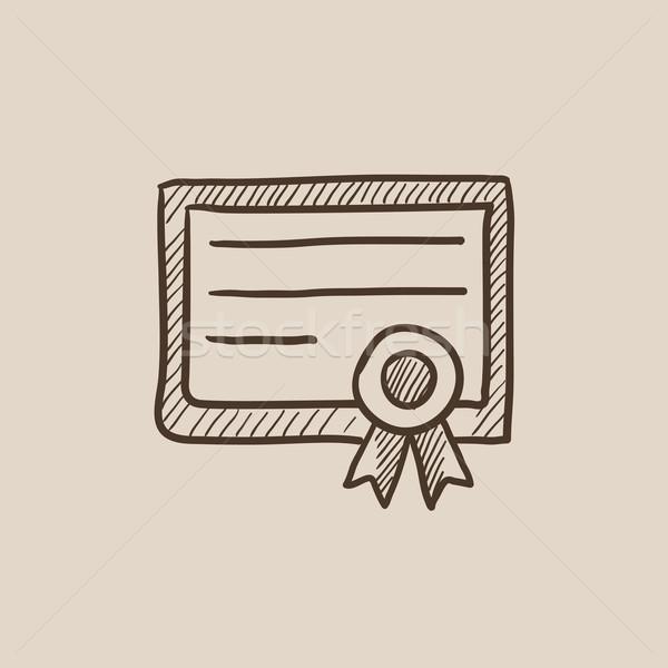 Certificado boceto icono web móviles infografía Foto stock © RAStudio