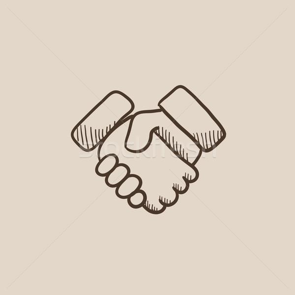 Handshake udany nieruchomości transakcja szkic ikona Zdjęcia stock © RAStudio