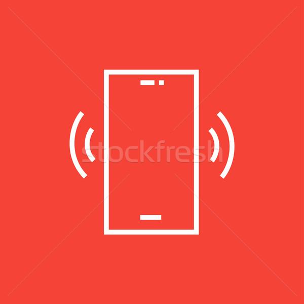 Teléfono línea icono esquinas web móviles Foto stock © RAStudio