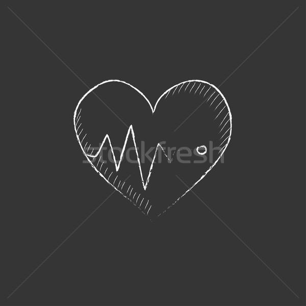 Hart kardiogram krijt icon symbool Stockfoto © RAStudio