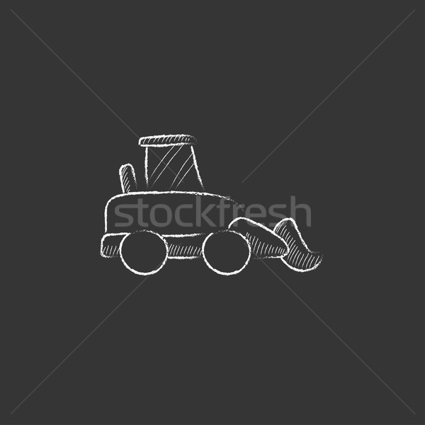 Excavator. Drawn in chalk icon. Stock photo © RAStudio