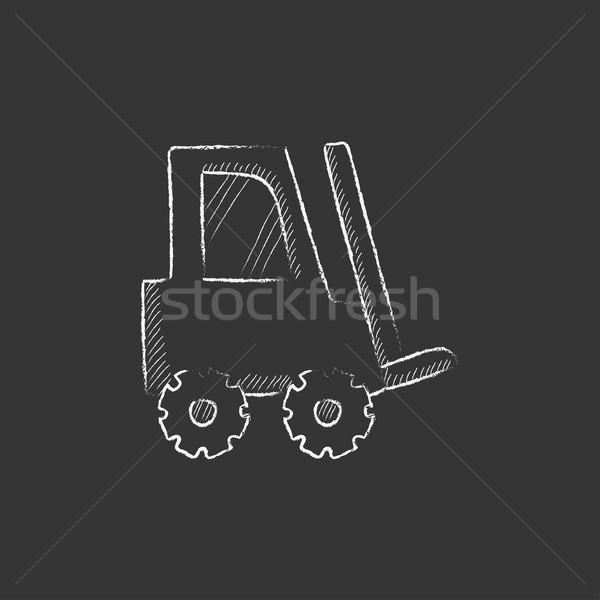 Targonca rajzolt kréta ikon kézzel rajzolt vektor Stock fotó © RAStudio