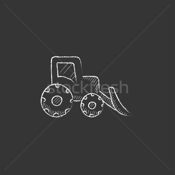 Buldózer rajzolt kréta ikon kézzel rajzolt vektor Stock fotó © RAStudio