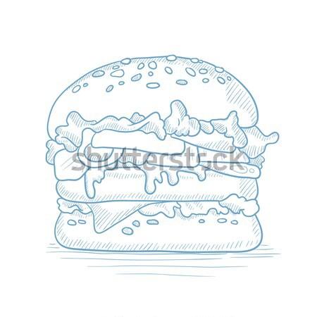 Lezzetli iştah açıcı hamburger et peynir marul Stok fotoğraf © RAStudio
