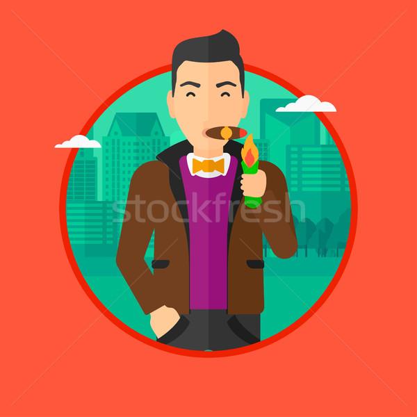 Biznesmen palenia cygara bogate oświetlenie Dolar Zdjęcia stock © RAStudio