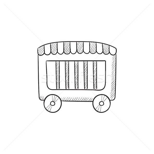 Cirkusz vagon rajz ikon vektor izolált Stock fotó © RAStudio