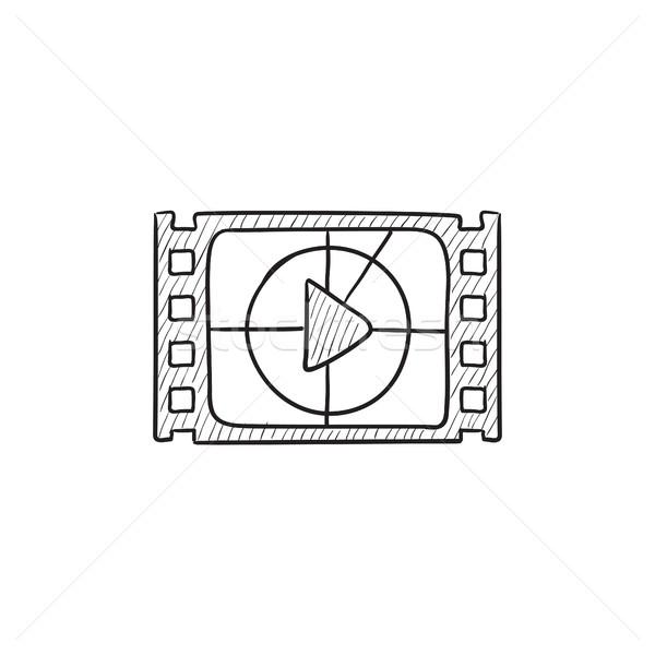 Film strip with play button sketch icon. Stock photo © RAStudio