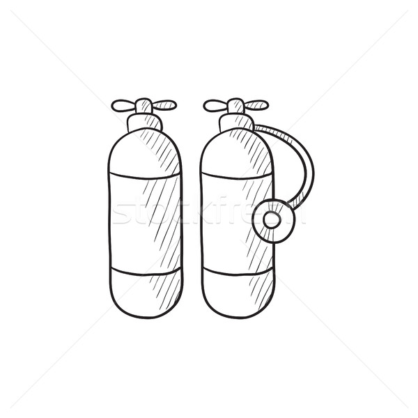 酸素 タンク スケッチ アイコン ベクトル 孤立した ストックフォト © RAStudio