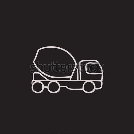 Konkretnych miksera ciężarówka szkic ikona wektora Zdjęcia stock © RAStudio