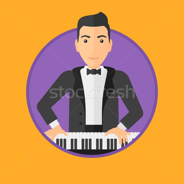 Férfi játszik zongora fiatal zenész zongorista Stock fotó © RAStudio
