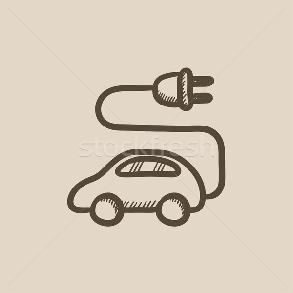 Stock photo: Electric car sketch icon.