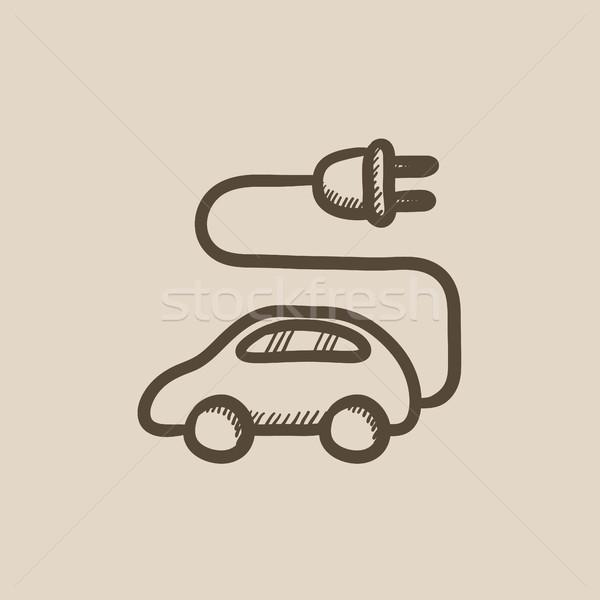 Elektrische auto schets icon vector geïsoleerd Stockfoto © RAStudio