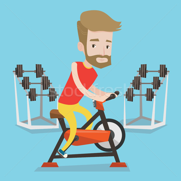 Man riding stationary bicycle vector illustration. Stock photo © RAStudio