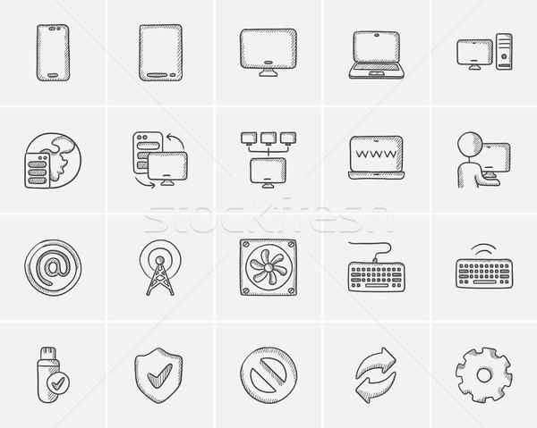 технологий эскиз веб мобильных Инфографика Сток-фото © RAStudio