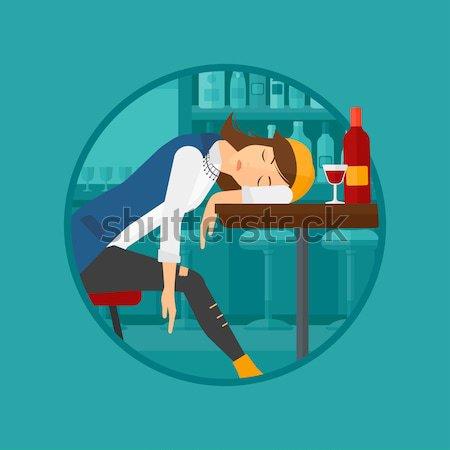 пьяный женщину спальный Бар бутылку рюмку Сток-фото © RAStudio
