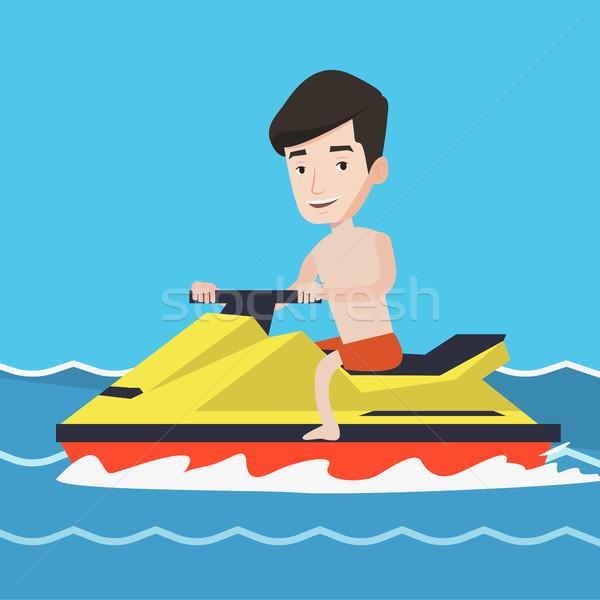 Caucasian man training on jet ski in the sea. Stock photo © RAStudio