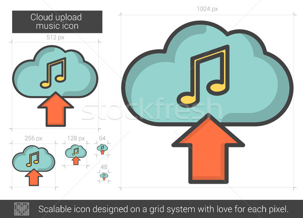Cloud upload music line icon. Stock photo © RAStudio