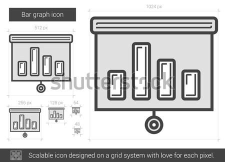 Gráfico de barras línea icono vector aislado blanco Foto stock © RAStudio