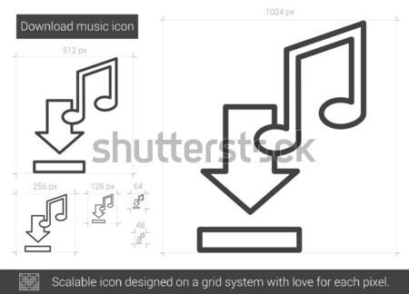 Letöltés zene vonal ikon vektor izolált Stock fotó © RAStudio