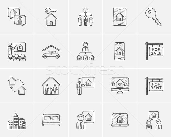 Real estate sketch icon set. Stock photo © RAStudio