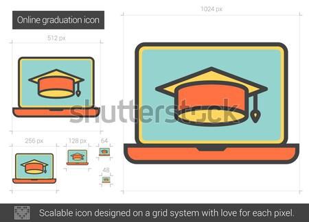 Online afstuderen lijn icon vector geïsoleerd Stockfoto © RAStudio