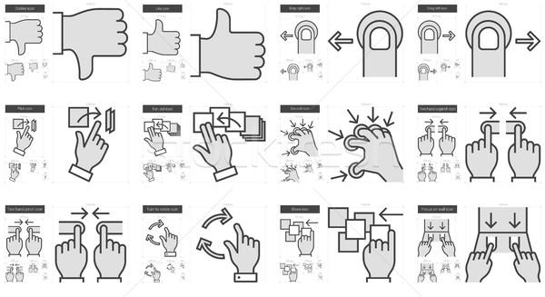 Touch gestures line icon set. Stock photo © RAStudio