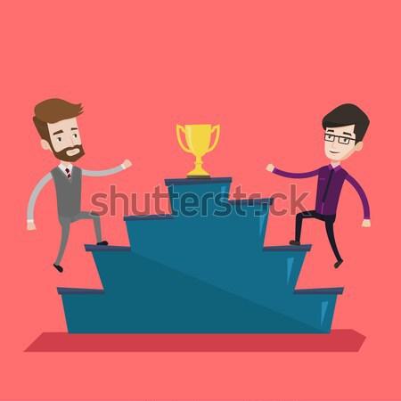 Két férfi versenyző üzlet díj üzletemberek arany Stock fotó © RAStudio