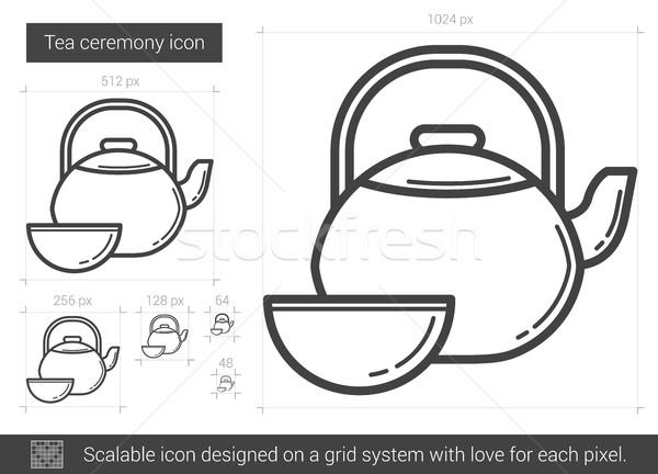 Сток-фото: чай · церемония · линия · икона · вектора · изолированный