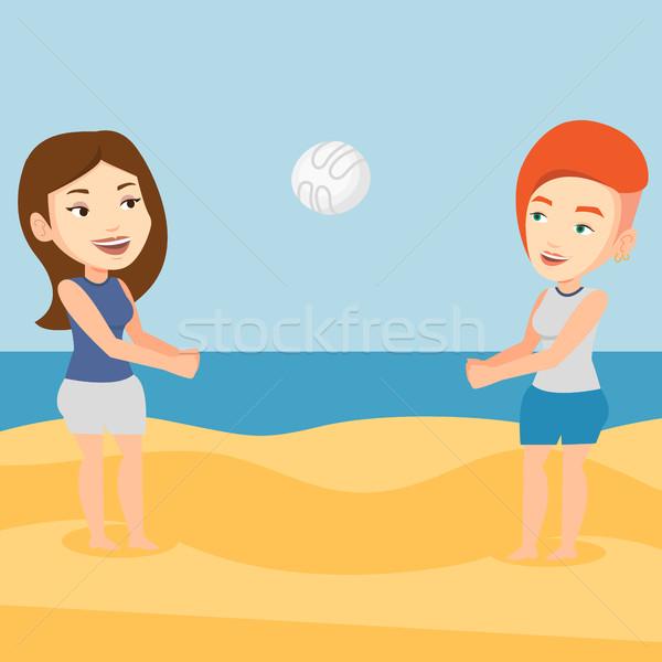 Duas mulheres jogar praia voleibol jovem caucasiano Foto stock © RAStudio