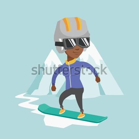 Moço snowboarding africano homem montanhas Foto stock © RAStudio