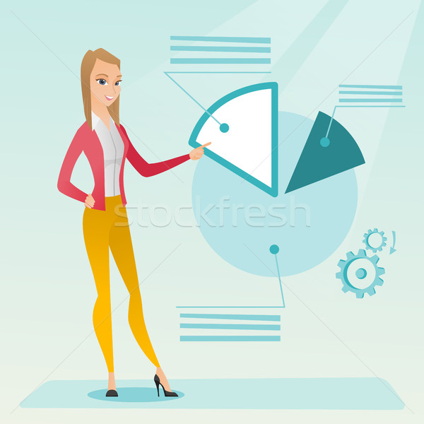 Business woman pointing at pie chart. Stock photo © RAStudio