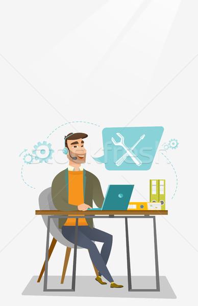 Teknik destek operatör kafkas profesyonel çalışma bilgisayar Stok fotoğraf © RAStudio