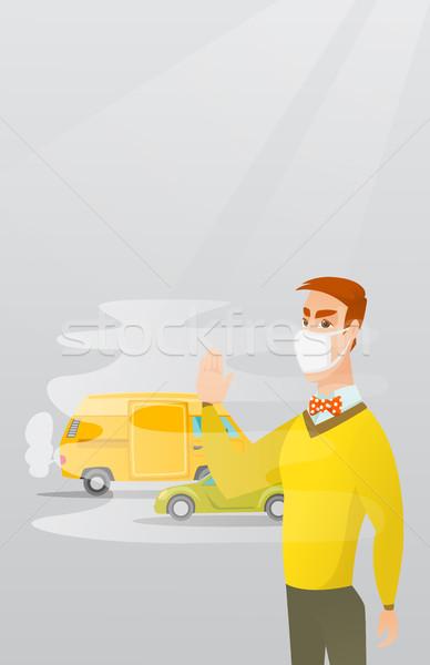 Levegő szennyezés jármű kipufogó férfi áll Stock fotó © RAStudio