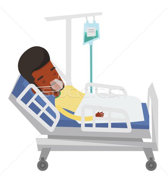 Beteg kórházi ágy oxigénmaszk afrikai férfi orvosi eljárás Stock fotó © RAStudio