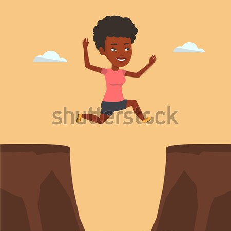Sportswoman jumping over cliff vector illustration Stock photo © RAStudio