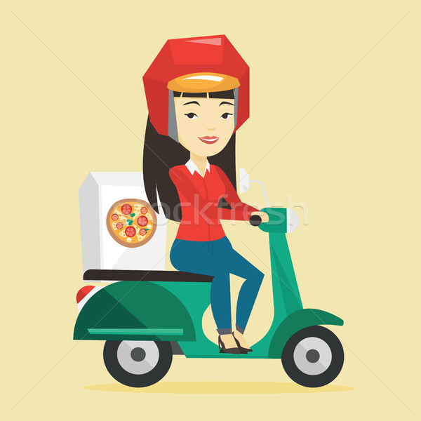 Woman delivering pizza on scooter. Stock photo © RAStudio