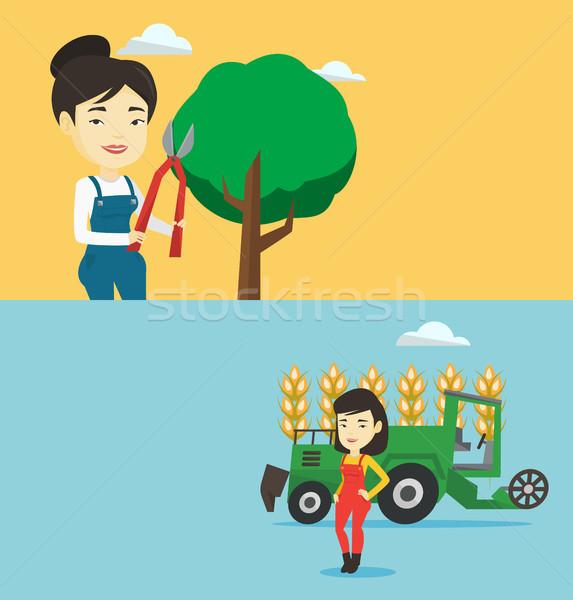 Dois agrícola banners espaço texto vetor Foto stock © RAStudio