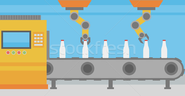 Robotic arm working on conveyor belt with bottles. Stock photo © RAStudio