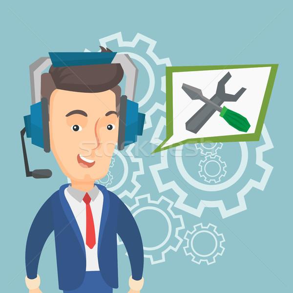 Technikai támogatás kezelő kaukázusi derűs visel fejhallgató Stock fotó © RAStudio