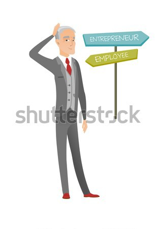 Confused african man choosing career pathway. Stock photo © RAStudio