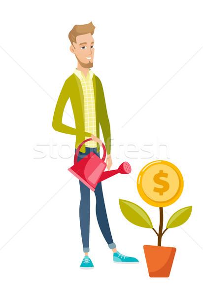 Jeunes affaires argent fleur Photo stock © RAStudio
