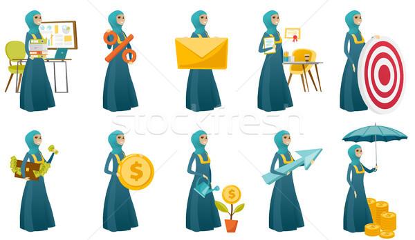 Moslim zakenvrouw vector illustraties ingesteld jonge Stockfoto © RAStudio