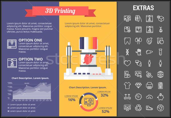 3D impressão modelo elementos ícones Foto stock © RAStudio