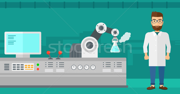 Tudós robotikus kar kaukázusi hipszter modern Stock fotó © RAStudio