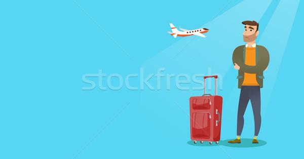 Kaukasisch man lijden angst vliegen jonge Stockfoto © RAStudio