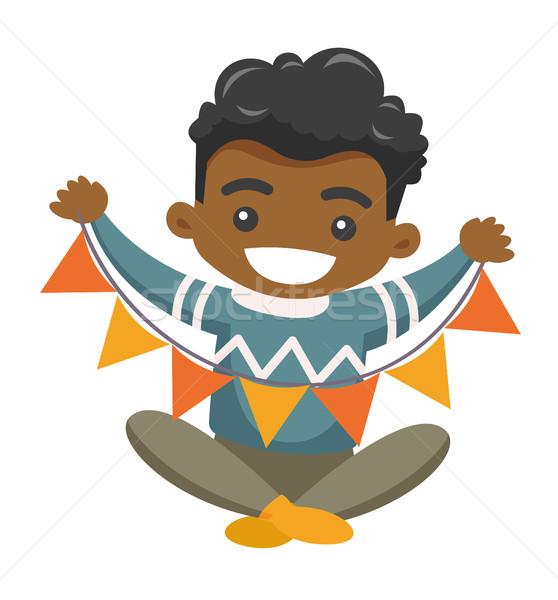 африканских мальчика треугольник праздник гирлянда Сток-фото © RAStudio